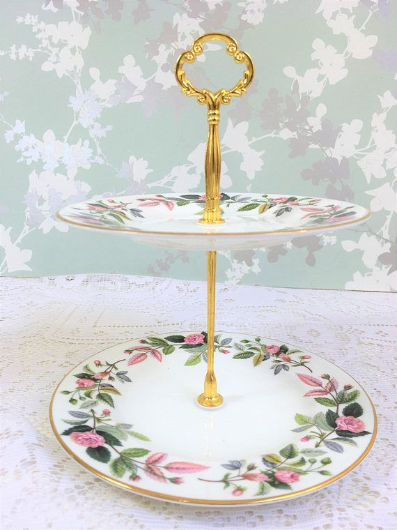 Wedgwood Hathaway Rose 2 Tier Mini Cake Stand & Wedgwood Hathaway Rose 2 Tier Mini Cake Stand | Vintage China ...