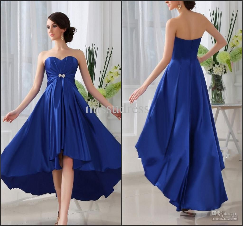 Wholesale bridesmaid dress buy royal blue custom made sweetheart wholesale bridesmaid dress buy royal blue custom made sweetheart high low skirt elastic satin ombrellifo Image collections