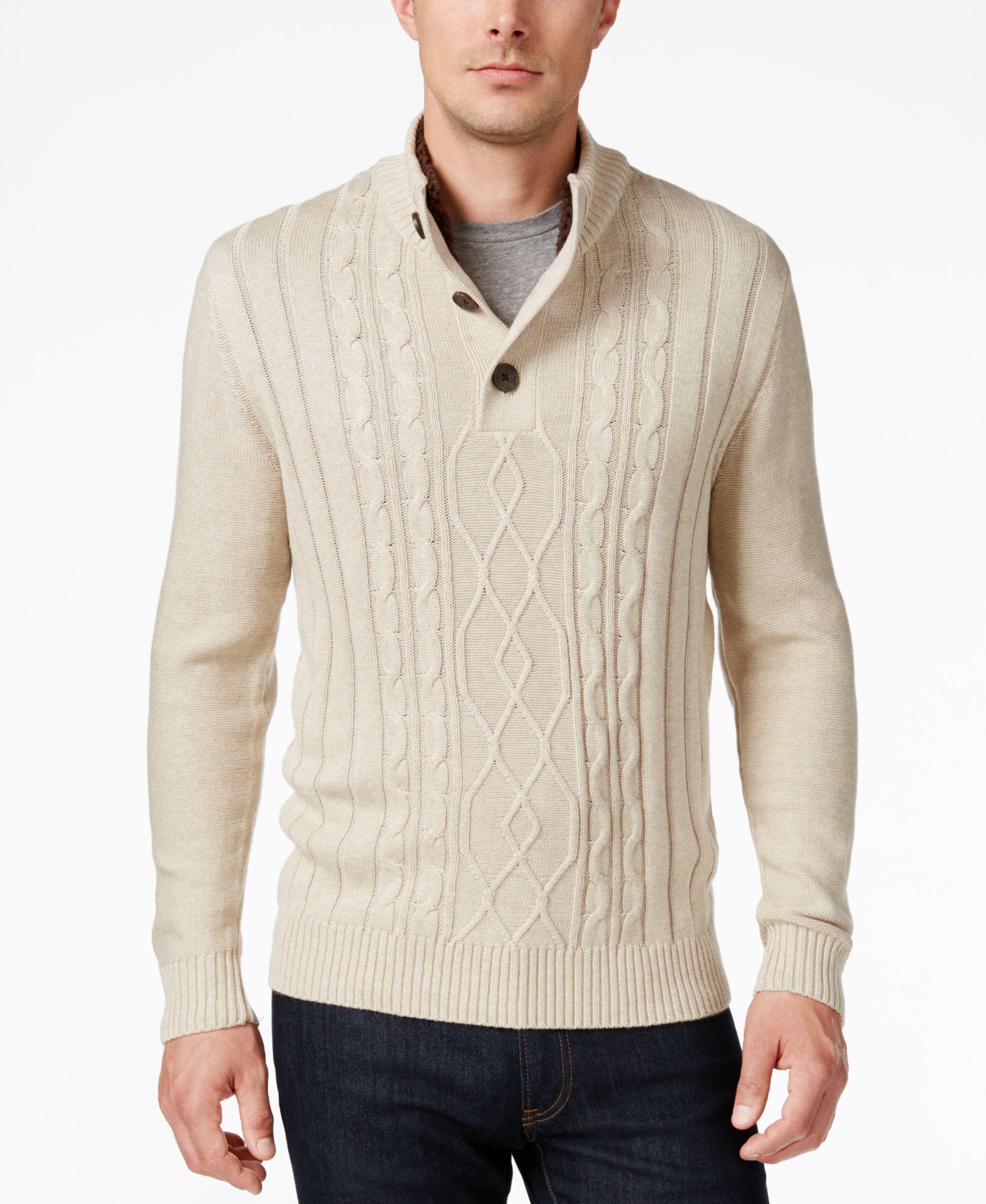 3d71a1985 Tricots St. Raphael Men s Faux Sherpa Trim Cable-Knit Mock Neck Sweater