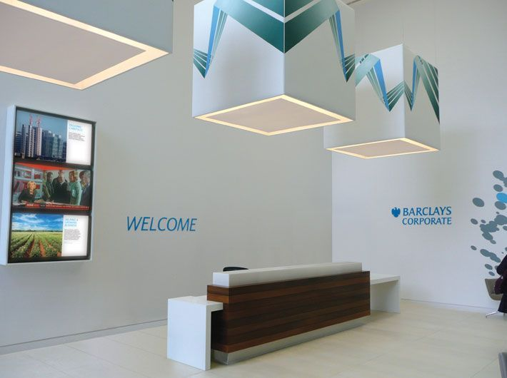 Barclays reception desk with digital graphic corporate interior Barclays reception desk with digital graphic corporate interior