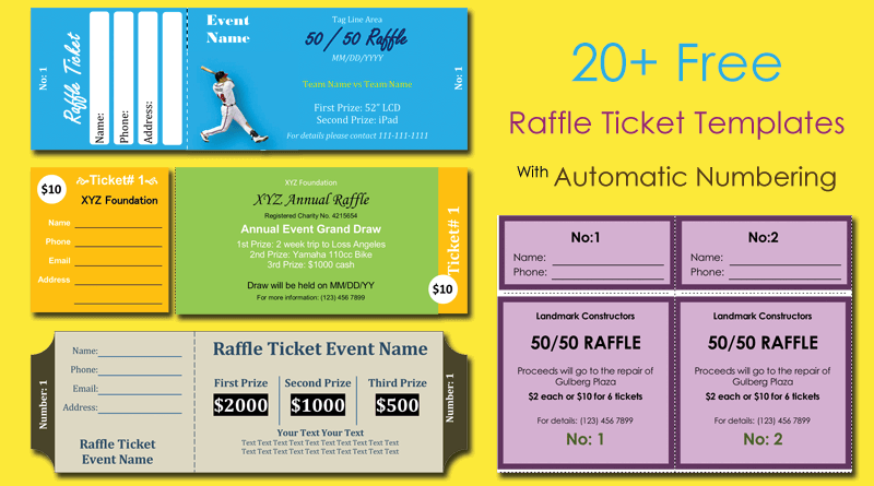 Free Raffle Ticket Templates With Automate Ticket Numbering - Numbered event ticket template free