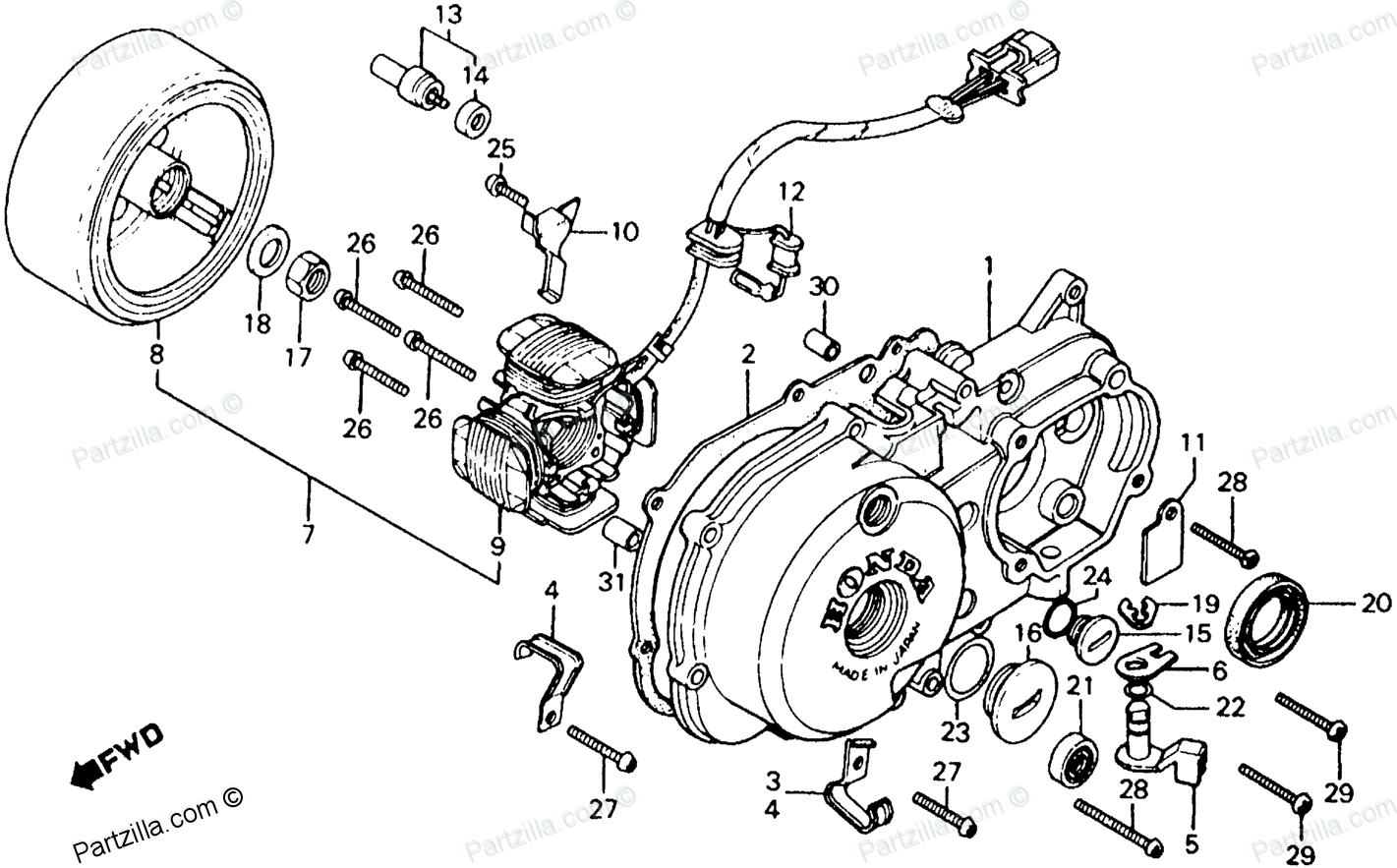 Honda Motorcycle 1983 OEM Parts Diagram for LEFT CRANKCASE