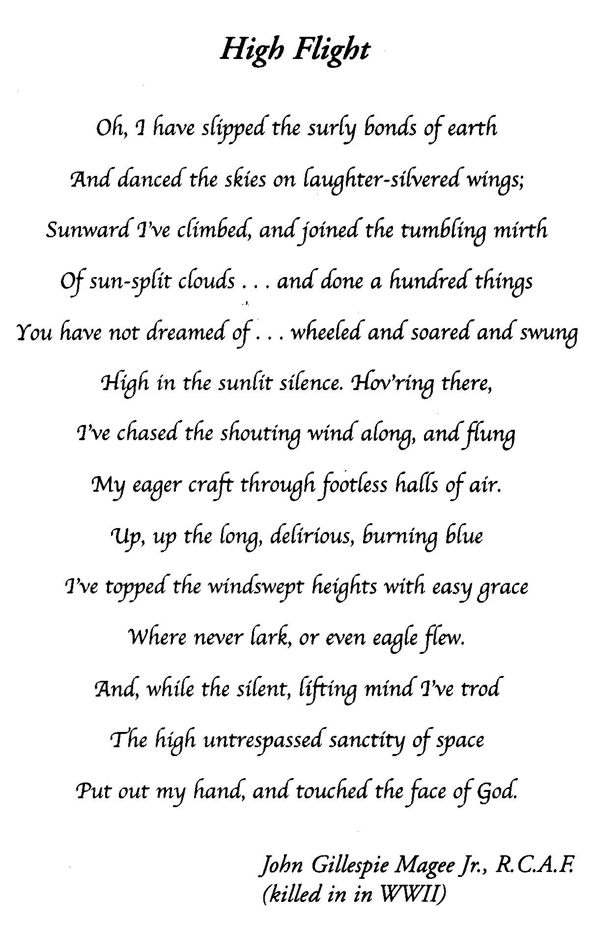 photograph relating to High Flight Poem Printable titled Substantial Flight\
