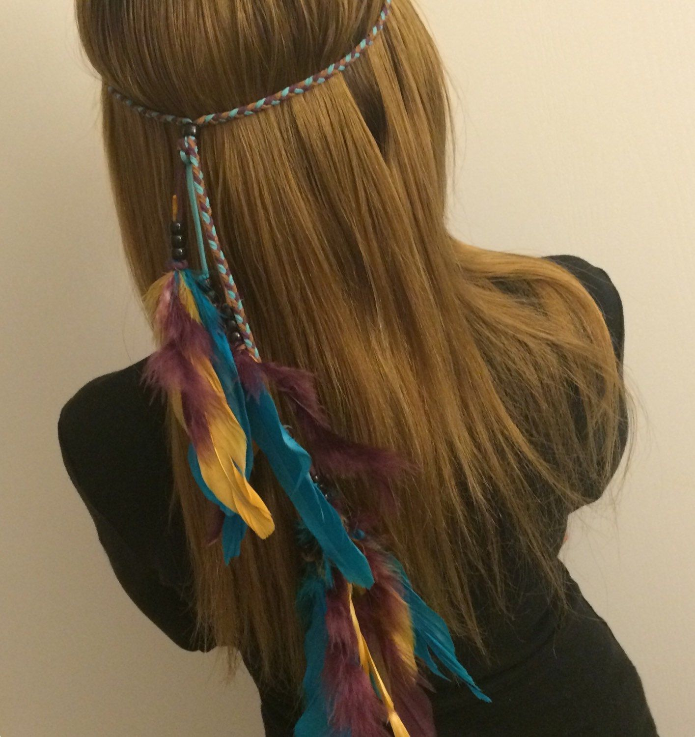 Purple, gold and teal Tribal Headband Native American, Feather Headband, Hippie Headband, Boho Headband, Bohemian Headband, Feather Hair.