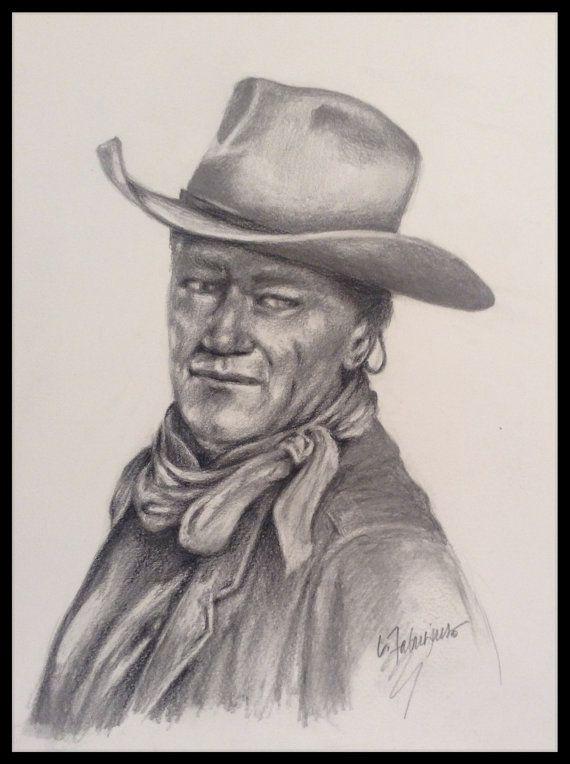 John wayne pencil drawing by laughingpencilsart on etsy
