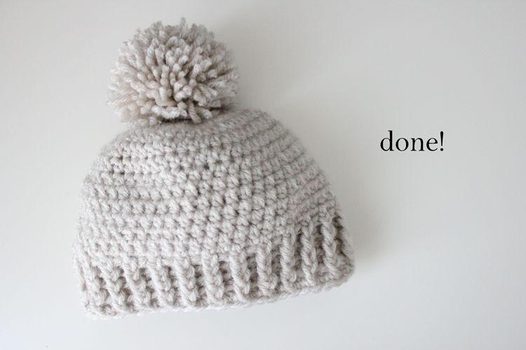 Crocheted Ribbed Beanie   crochet!!   Pinterest   Pompones ...