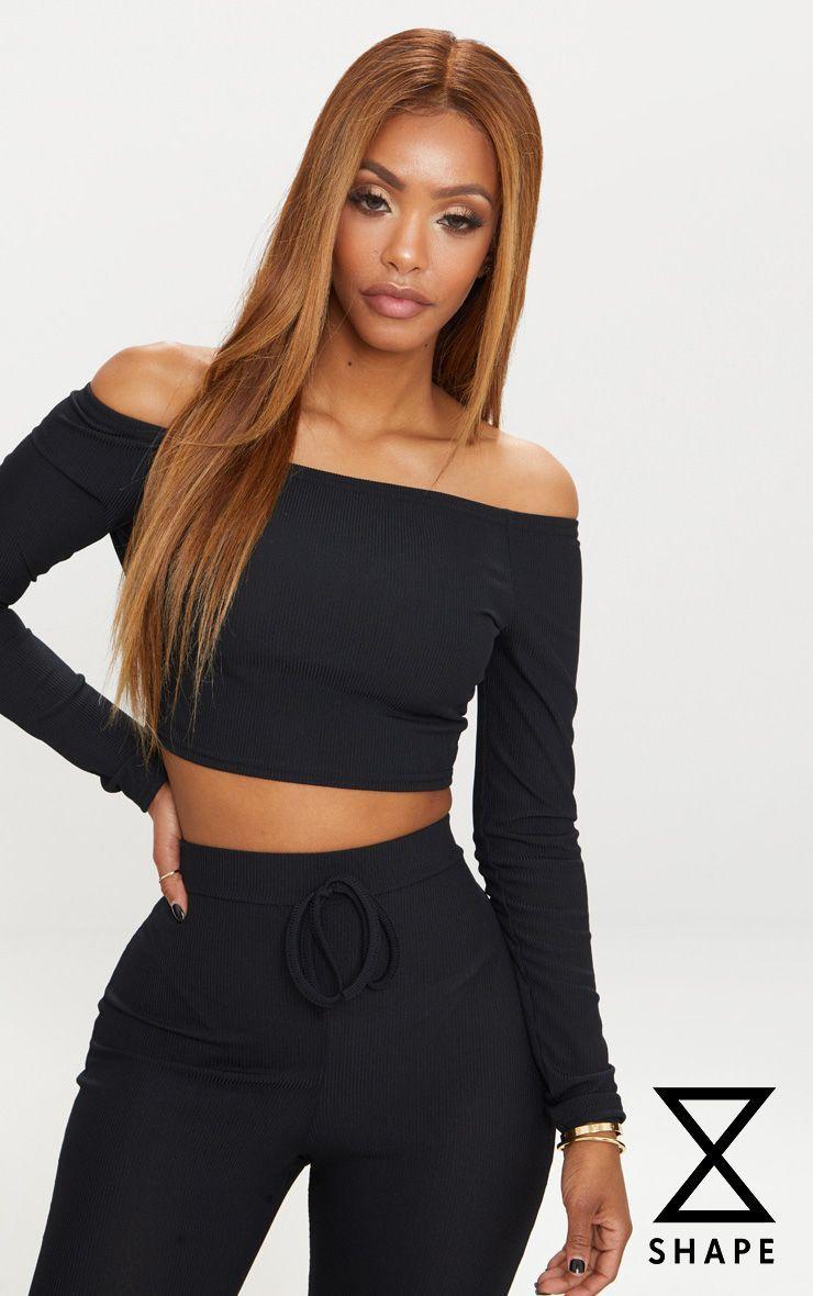 578e7cdcf68 Shape Black Ribbed Bardot Long Sleeve Crop Top | Style inspo | Long ...