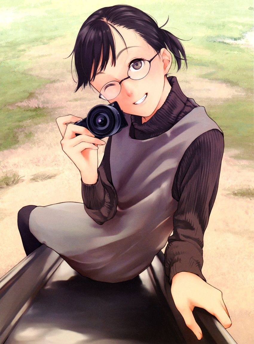Safebooru anime picture search engine bangs black hair black legwear brown eyes camera girl glasses highres jumper kamo kamo gafas megane original