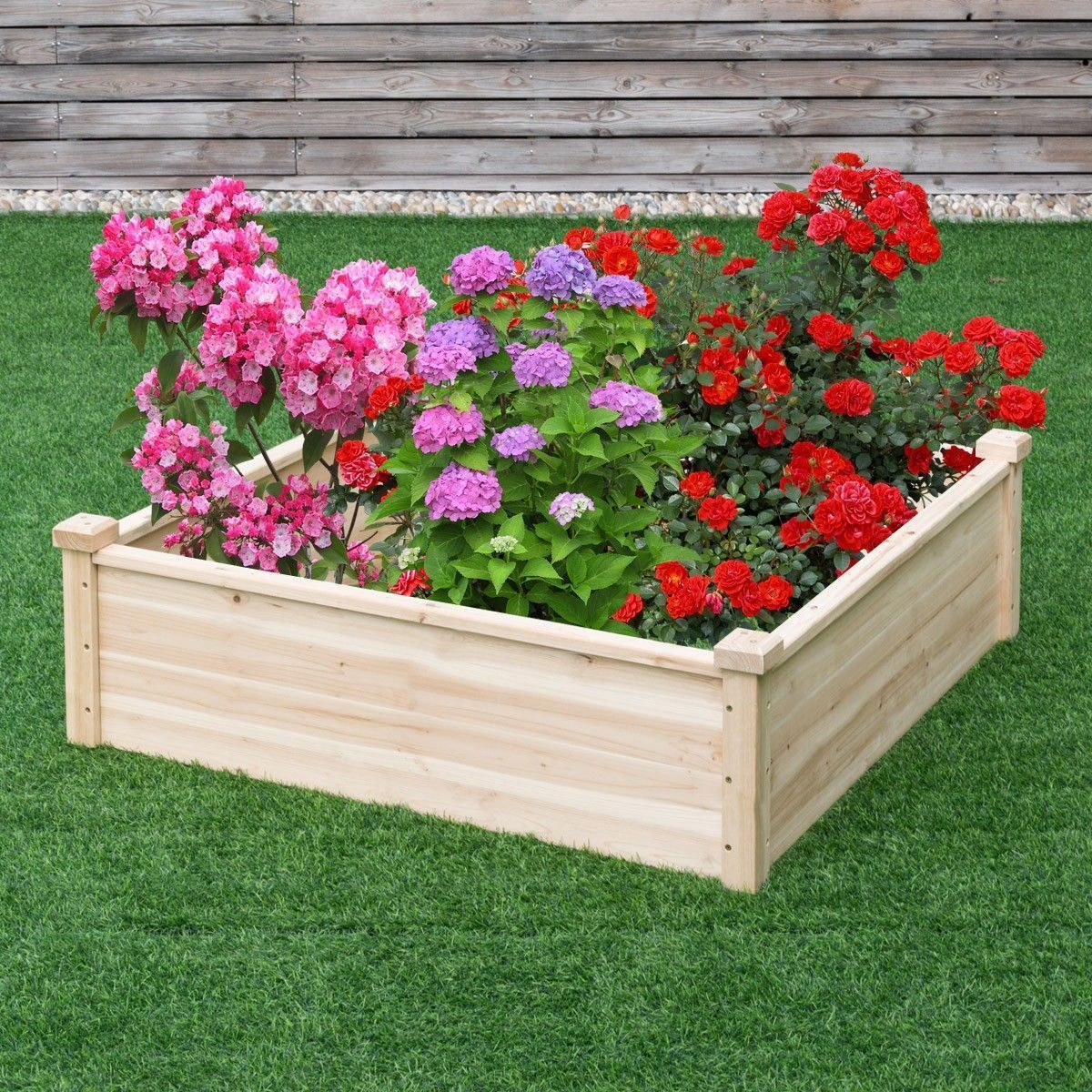 Wooden Square Rasied Elevated Garden Patio Vegetable