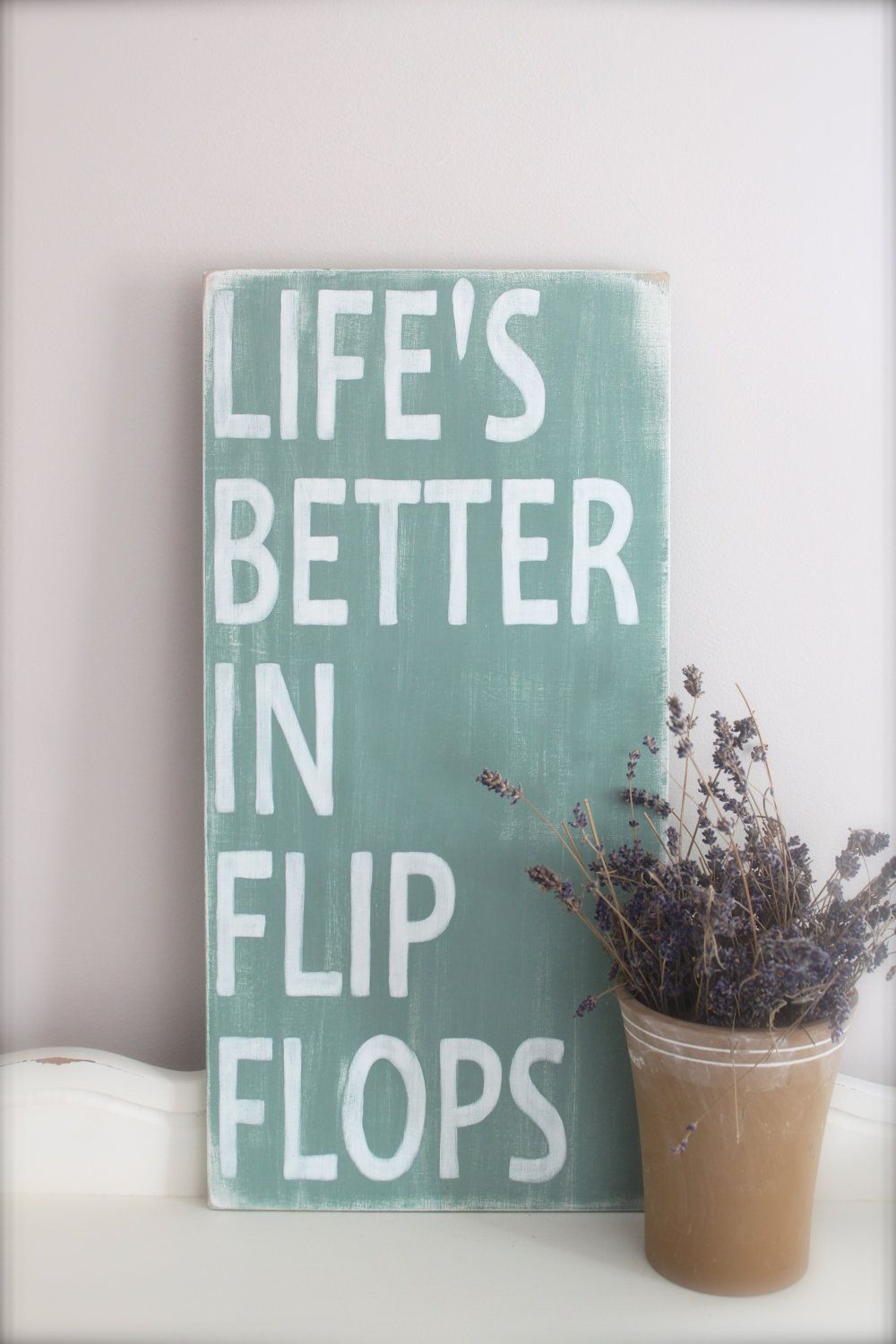 Beach quote lifeus better in flip flops wood wall art by inmindu
