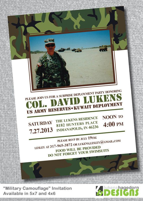 Military Party with Picture - Deployment or Welcome Home Invitation ...