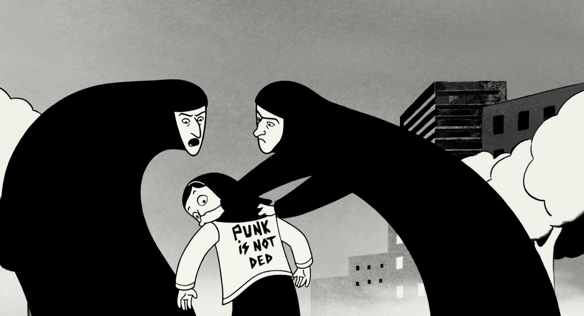 Illustration from Persepolis by Marjane Satrapi and Vincent Paronnaud/ courtesy of Sony Pictures Classics Inc.