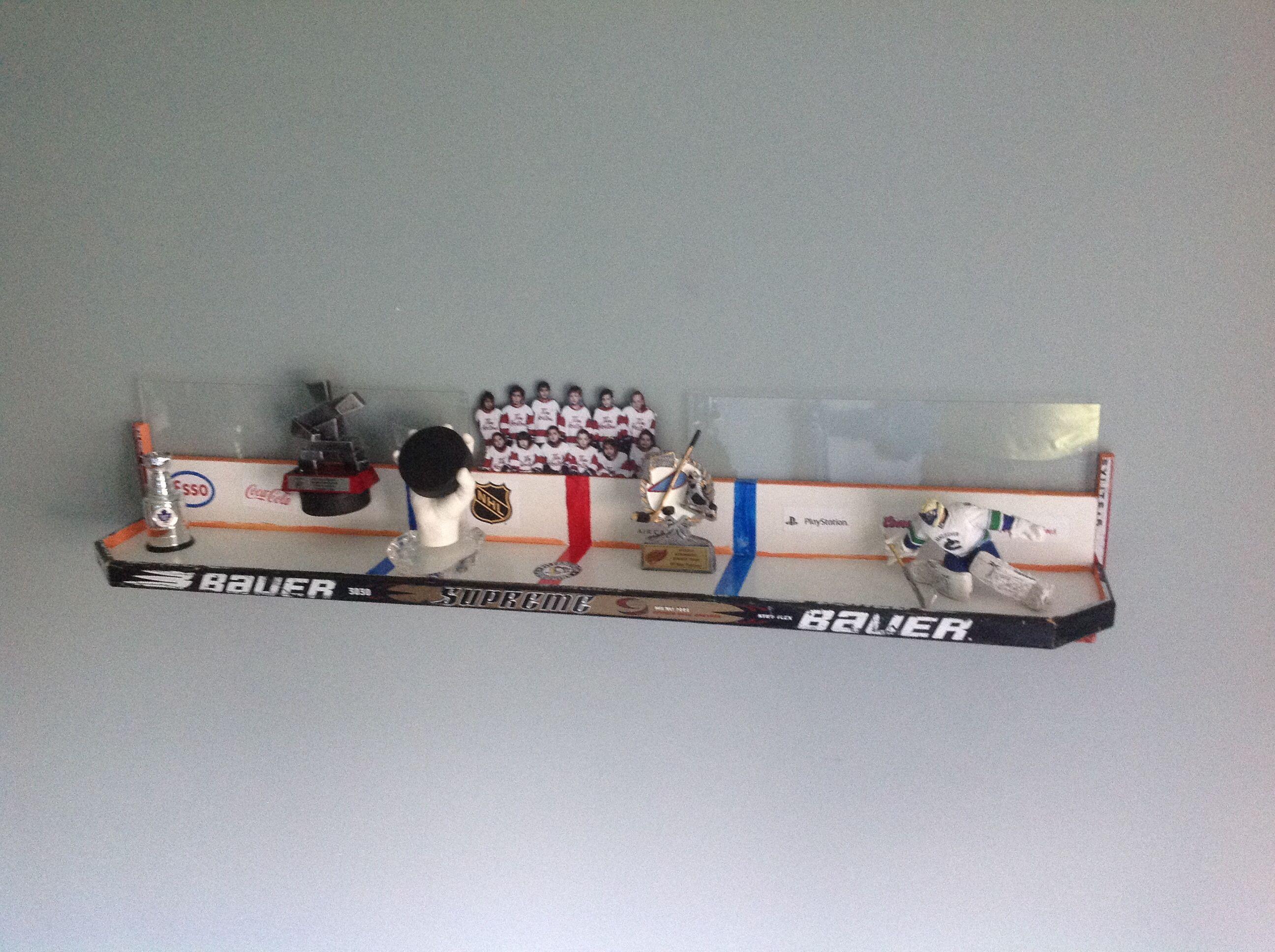 Shelf made from old hockey sticks!