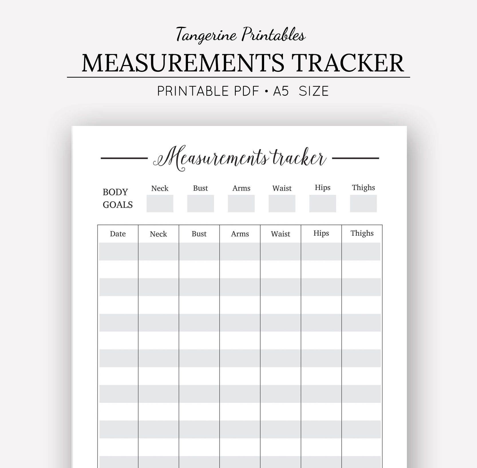 Measurement Tracker Printable Planner