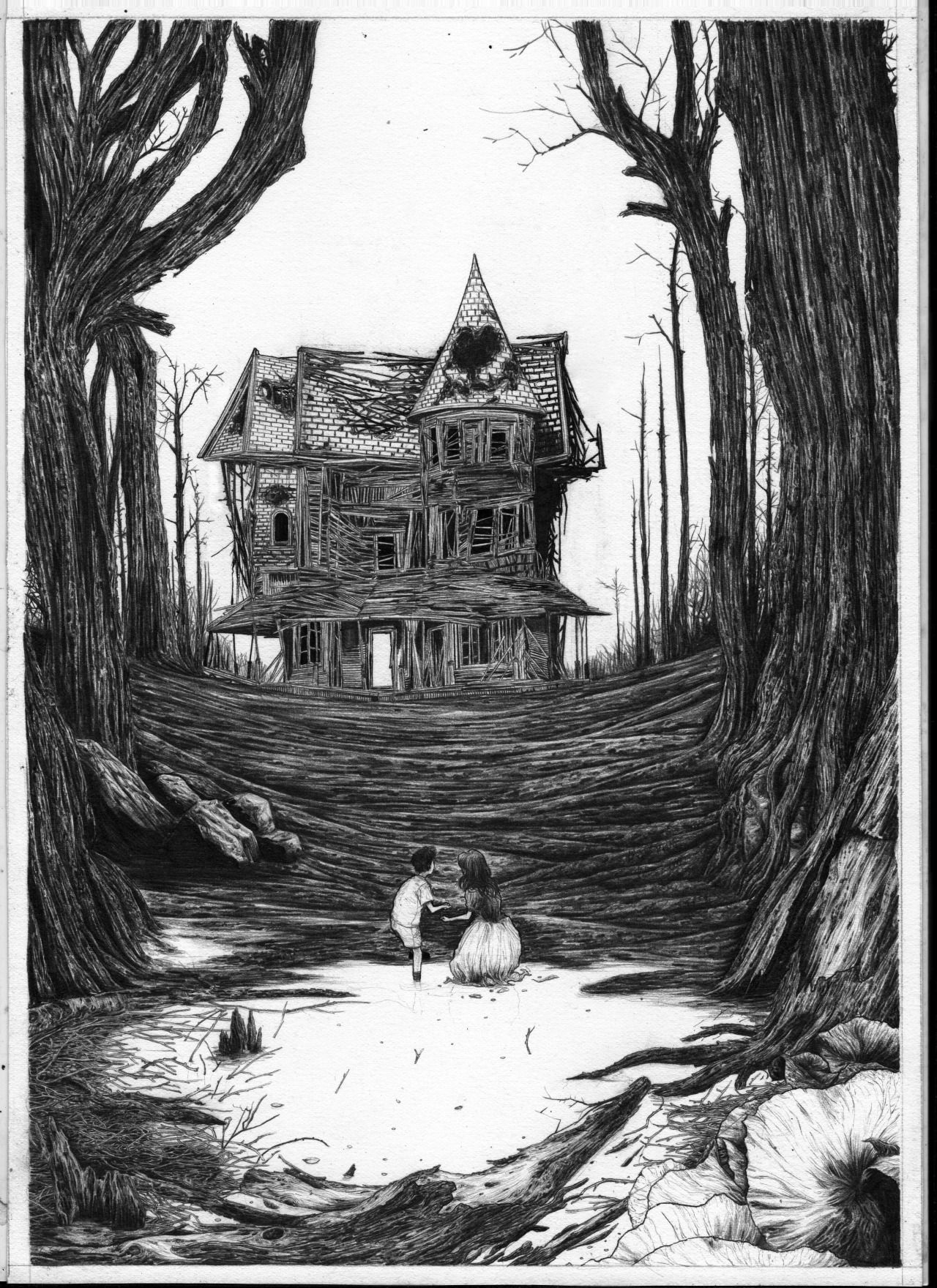 Hansel and Gretel black and white illustration by Zakuro Aoyama.