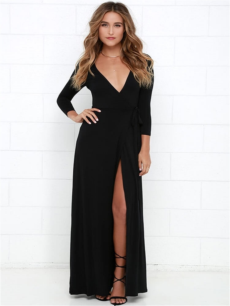 55c5fae9 #WithChic #chicoftheday, Simple Cheap Chic, Shop Black Wrap Front Plunge  Long Sleeve Split Maxi Dress online.