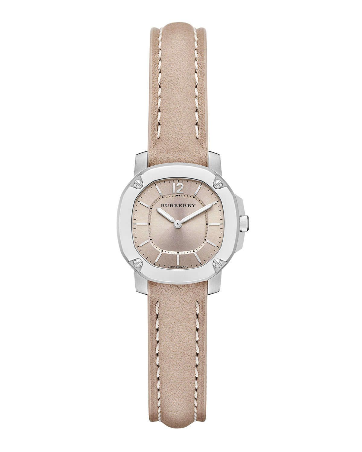 26mm Octagonal Stainless Steel Watch with Tan Leather Strap