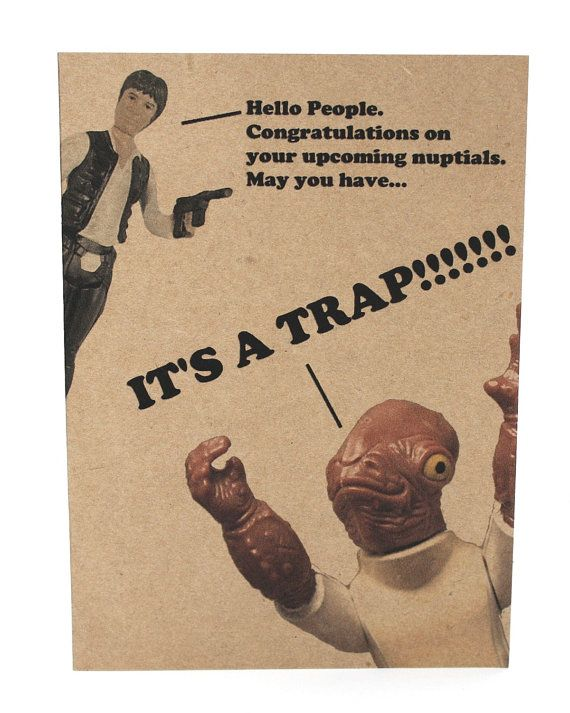 admiral ackbar trap wedding card and envelope star wars geek birthday card awesome on etsy. Black Bedroom Furniture Sets. Home Design Ideas