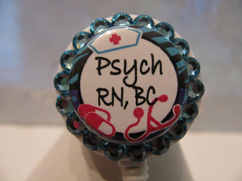 Psych Nurse ID Badge Holder. Retractable ID Badg Reel, ID Card Holder, Name Badge Holder,Name Tag Holder, with Swarovski Crystals by sparklinghope on Etsy https://www.etsy.com/listing/519048126/psych-nurse-id-badge-holder-retractable