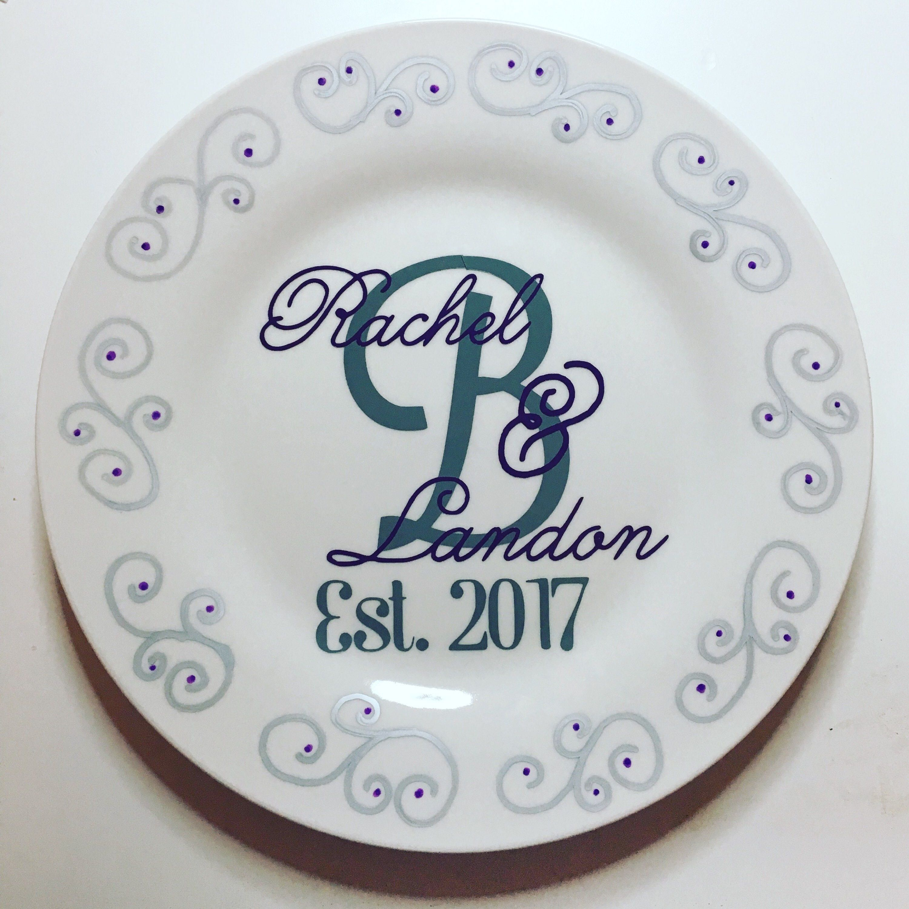Monogram Plate Personalized Wedding Plate Personalized Wedding