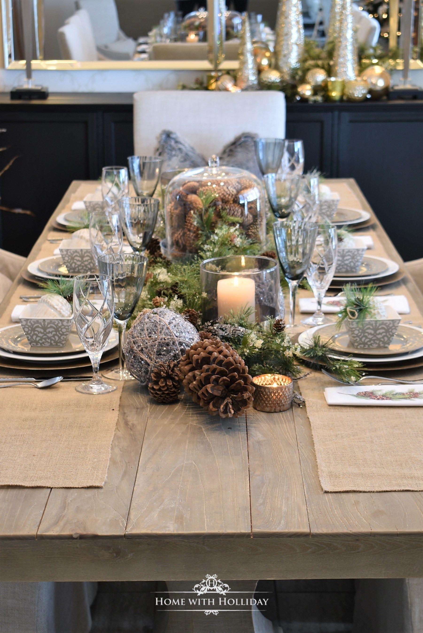 Simple Woodland And Pine Cone Christmas Table Setting Christmas Table Decorations Christmas Table Christmas Home