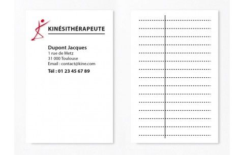 Cartes De Rdv Simples N 8 Kine Kinesitherapeute Rdv Kine