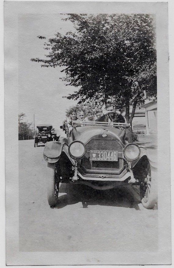 Old Photo Front View People In Car Pa License Plate 1910s Photograph
