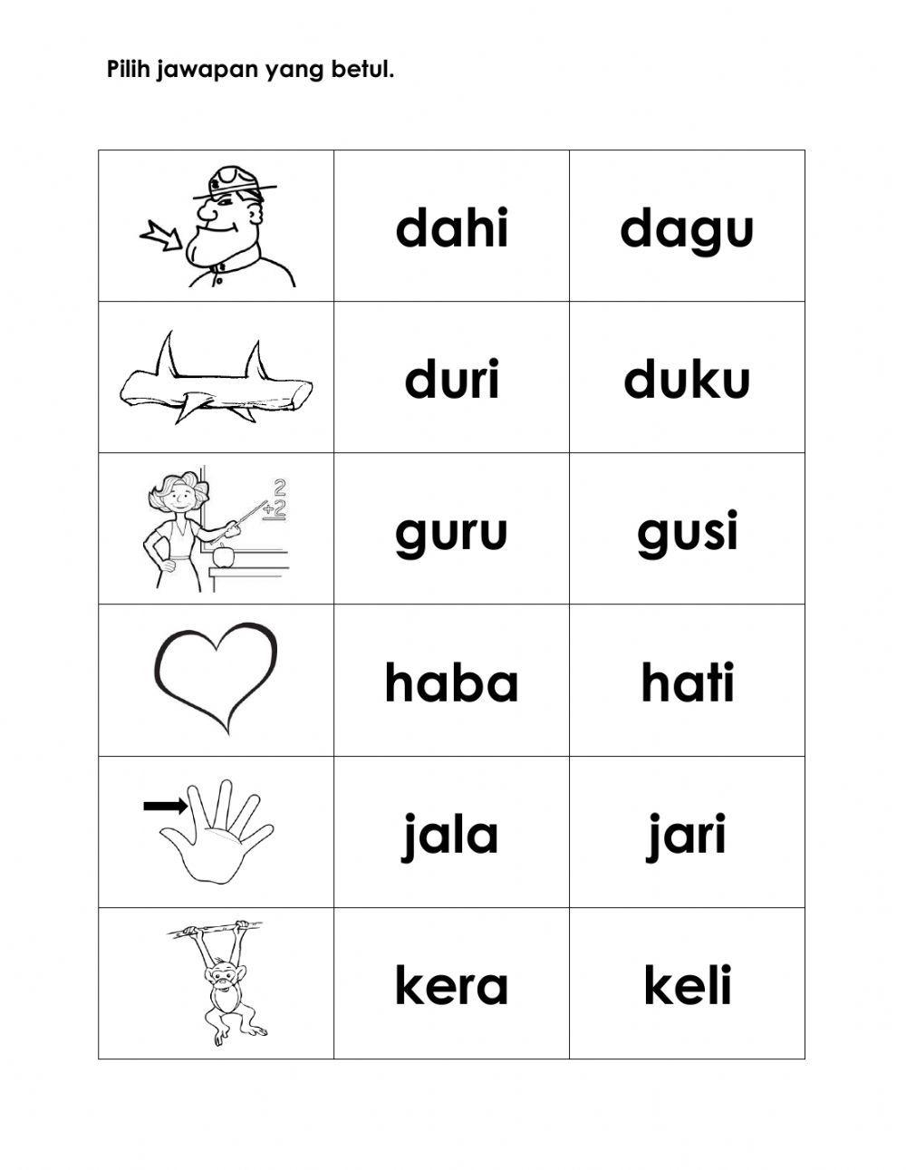 Latihan Kvkv Interactive Worksheet Preschool Activities Printable Preschool Math Worksheets Kindergarten Reading Activities