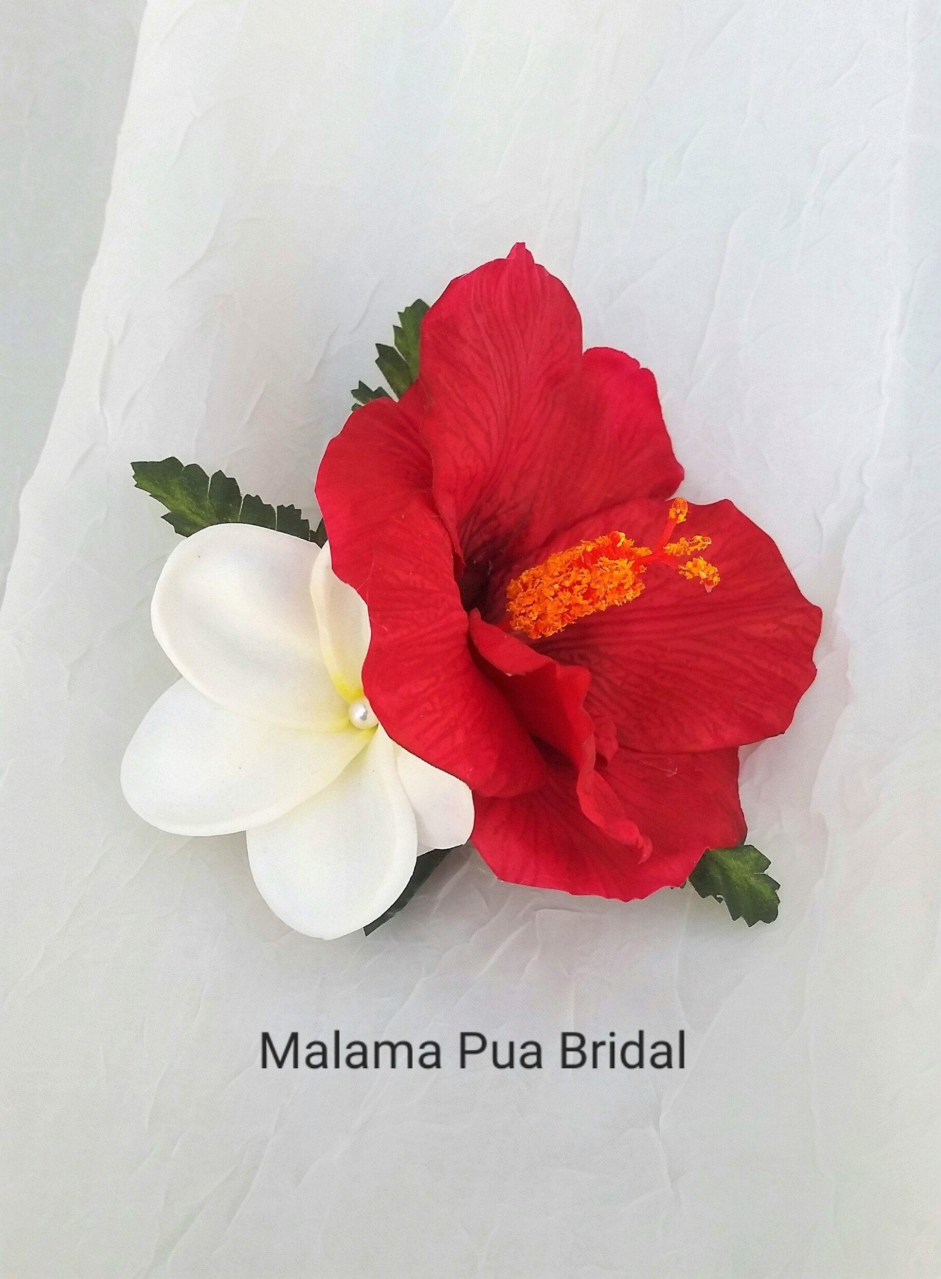 hawaiian hibiscus & plumeria hair clip, hair accessory