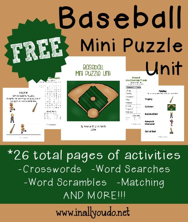 Free Mini Baseball Puzzle Unit  26 Pages