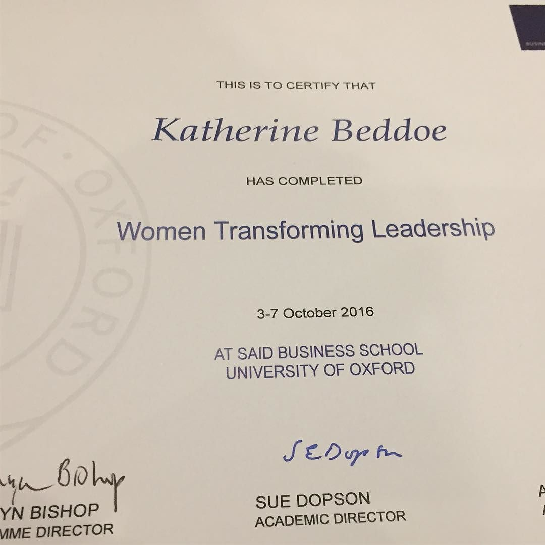 I've got documentation from Oxford. You can tell it's important because it says Katherine instead of Kate