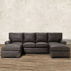 Brentwood 122 Leather Double Chaise Sectional In Saloon Grey Double Chaise Sectional Double Chaise Sofa Best Leather Sofa