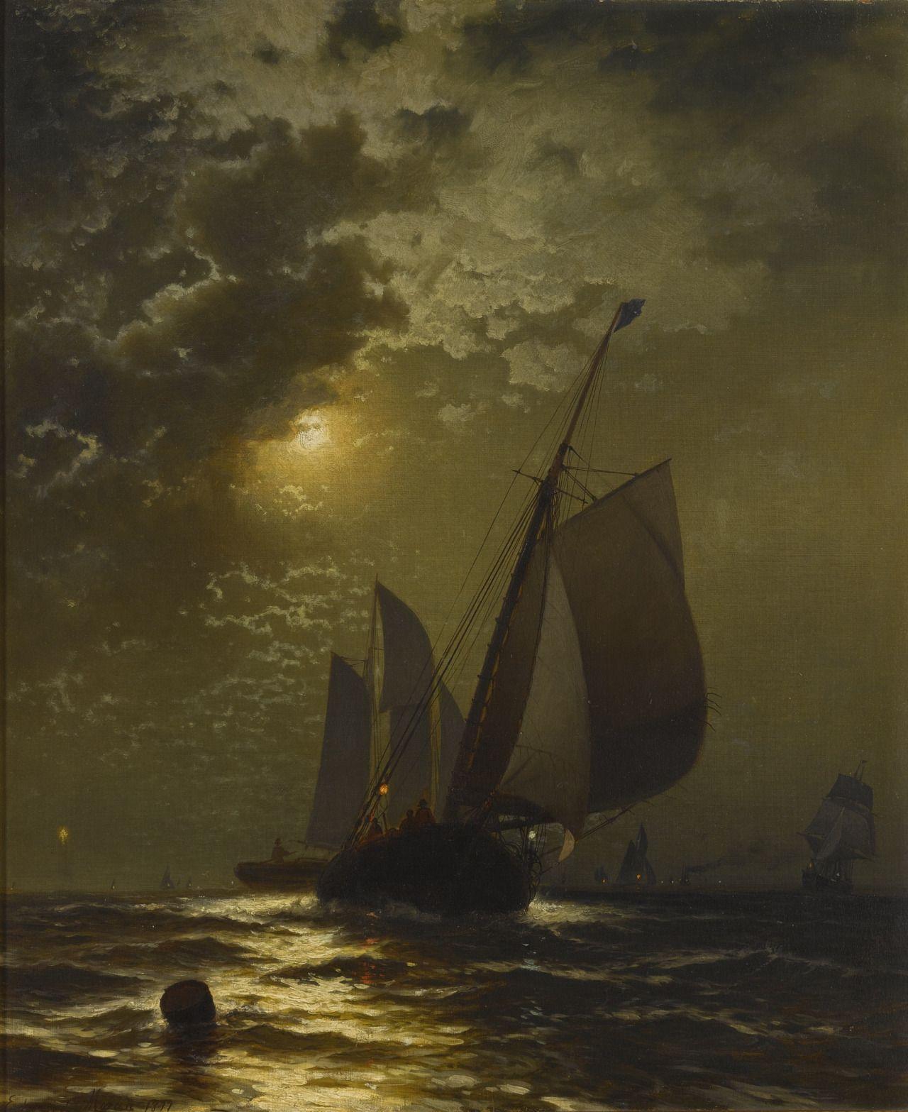"laclefdescoeurs: "" Fishing Boats in the Moonlight, 1877, Edward Moran """