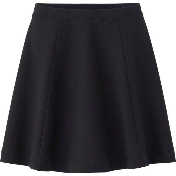 UNIQLO Women Ponte Flare Skirt (17 CAD) ❤ liked on Polyvore featuring skirts, black, uniqlo, circle skirt, ponte-knit skirts, ponte skirt and ponte skater skirt