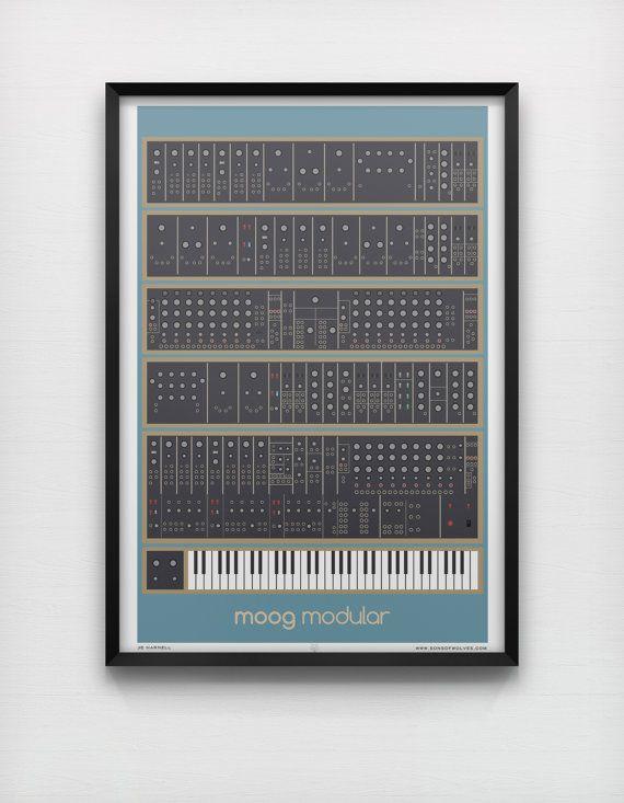 moog modular art print analog synth vintage graphic poster home geek music retro keyboard. Black Bedroom Furniture Sets. Home Design Ideas