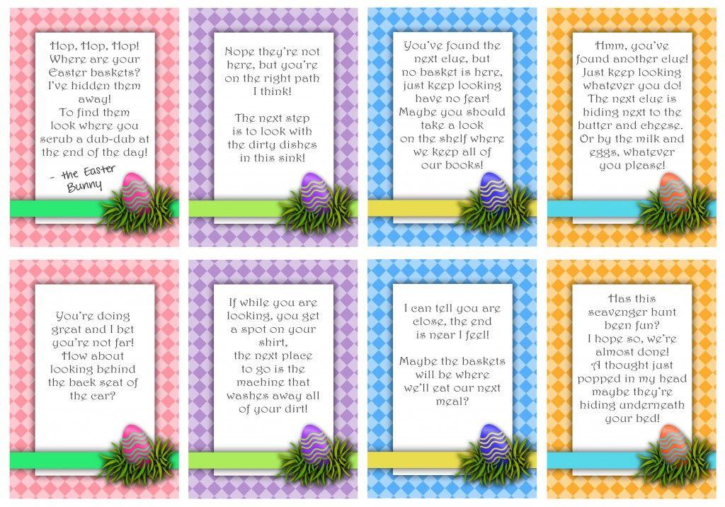 Printable Easter Scavenger Hunt Cards Easter scavenger