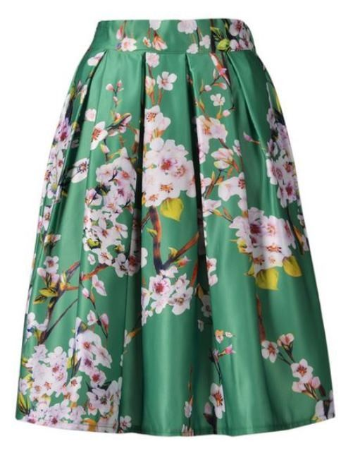 Green Sakura Print Pleated Skater Skirt | #USTrendy www.ustrendy.com