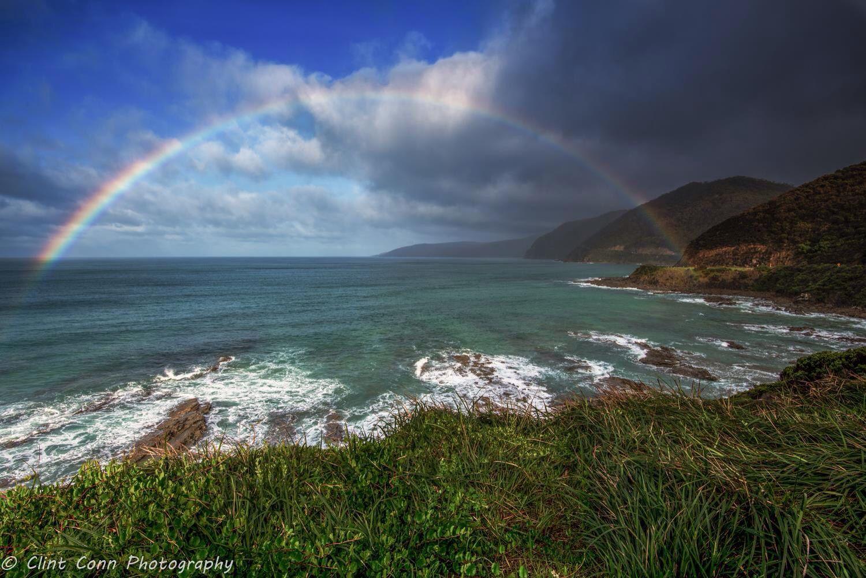 Rainbow over the Great Ocean Rd in Lorne just past Sheoak Falls. Taken 19/5/16.   Victoria, Australia