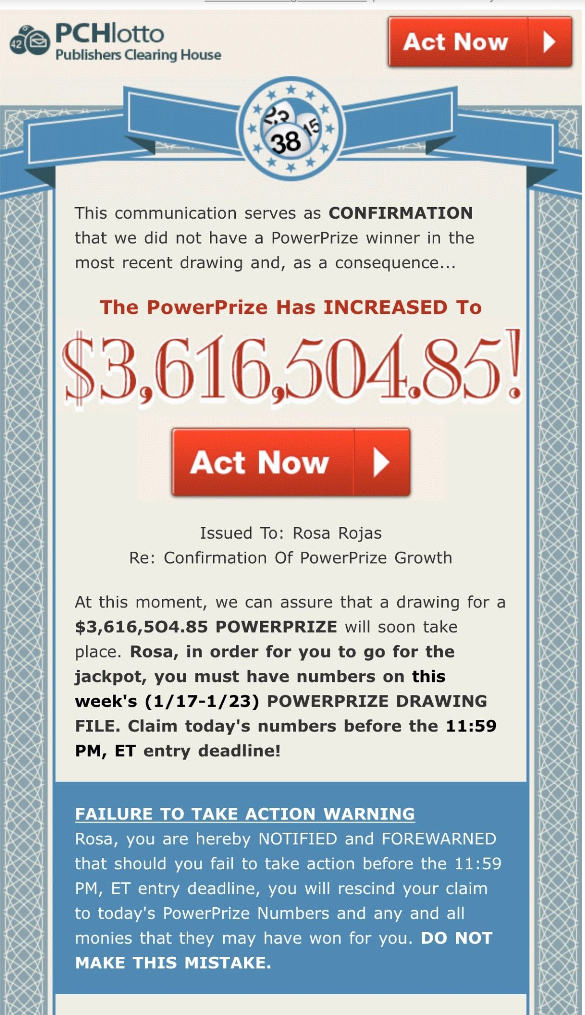 PCH LOTTO ACTNOW POWERPRIZE/I Rosa Rojas now officially