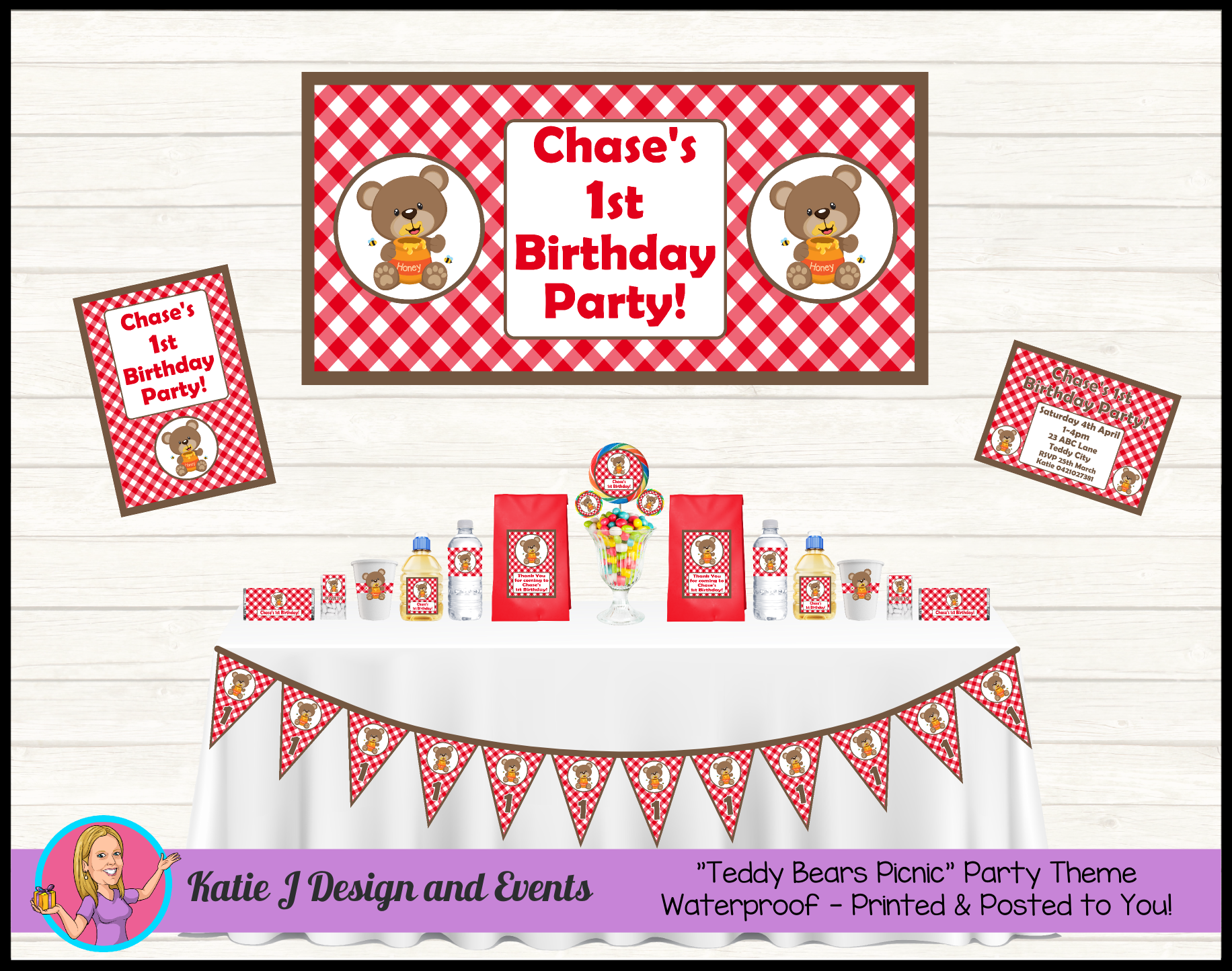 Teddy Bears Picnic Personalised Birthday Party Decorations Supplies Packs Shop Online Australia Banners Bunting Wall Display