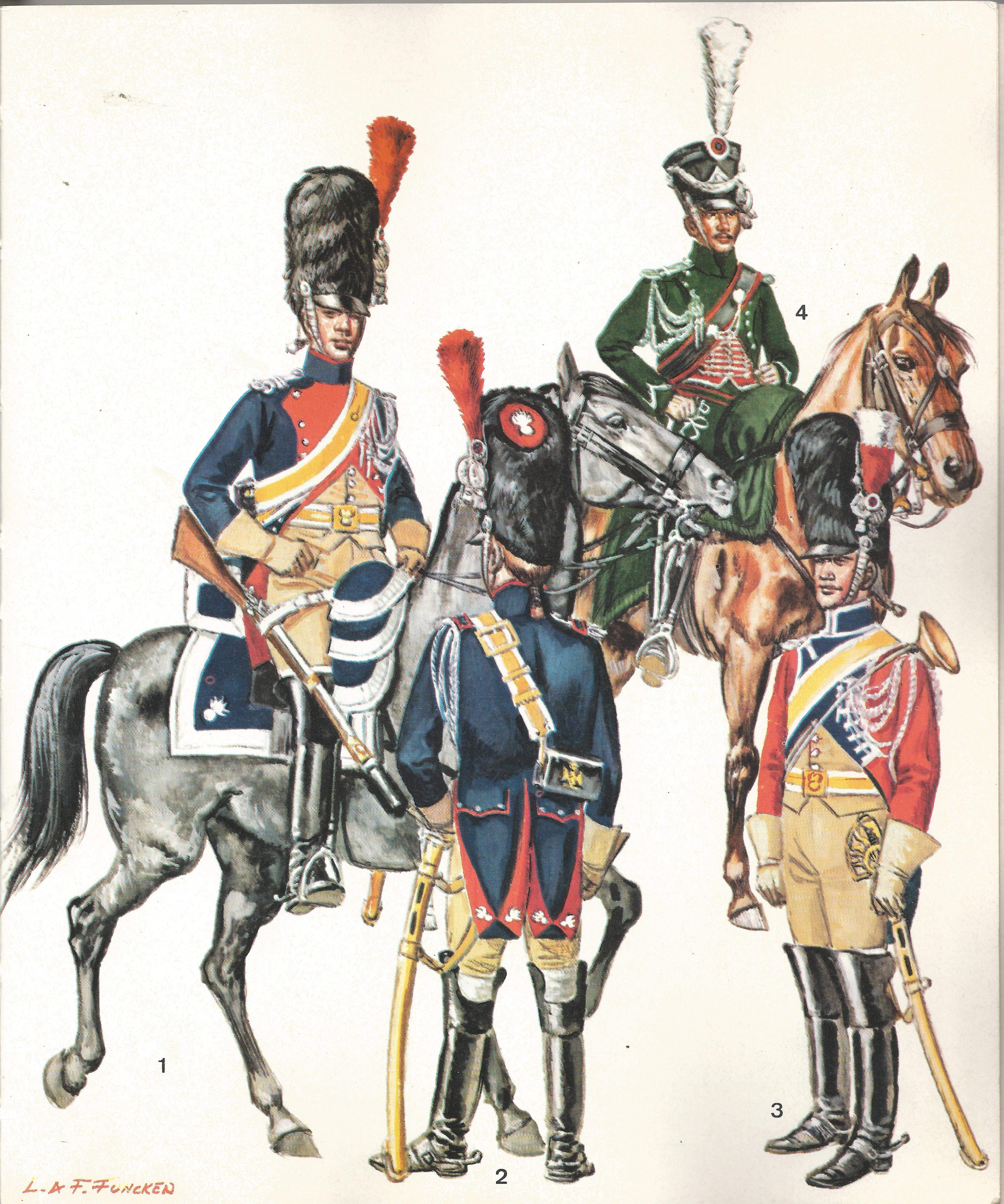 1 Cavalier En Grande Tenue 2 Le Meme Vu De Dos 3 Trompette 4 Gendarme D Ordonnance 1806 1807 Napoleonic Wars Napoleon Cavalry