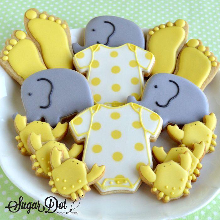 Sugar Dot Cookies: Elephant Baby Shower Sugar Cookies