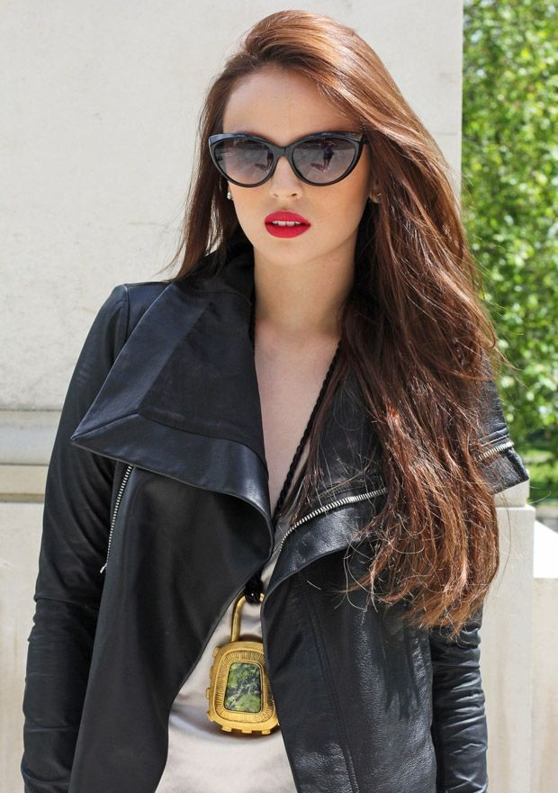 fc839db17b7 cat-eyed sunnies + red lips + leather jacket Georgina Wilson