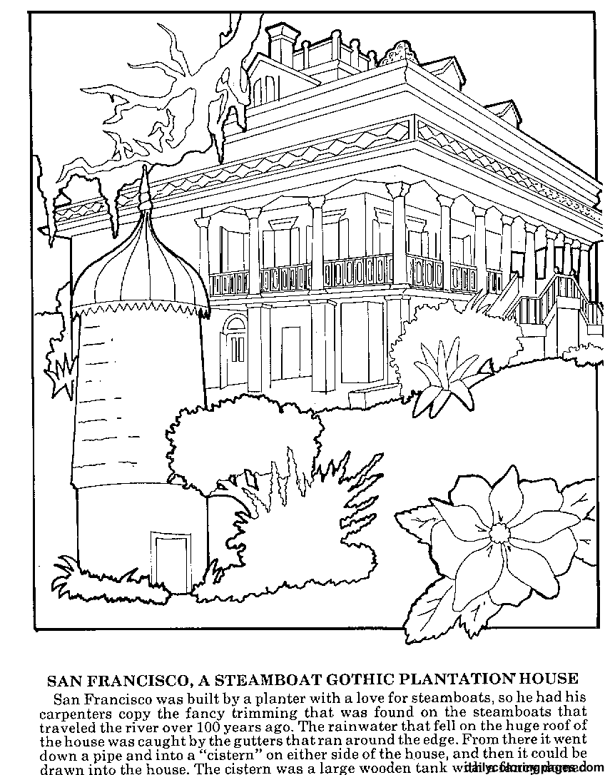 Colouring adults benefits - Difficult Coloring Pages For Adults Louisiana Plantations Difficult Coloring Pages03