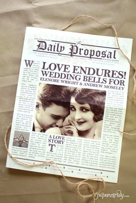 The daily proposal newspaper wedding invitation pinterest inspired by the art deco era and vintage newspaper layouts this newspaper wedding invitation design stopboris Choice Image