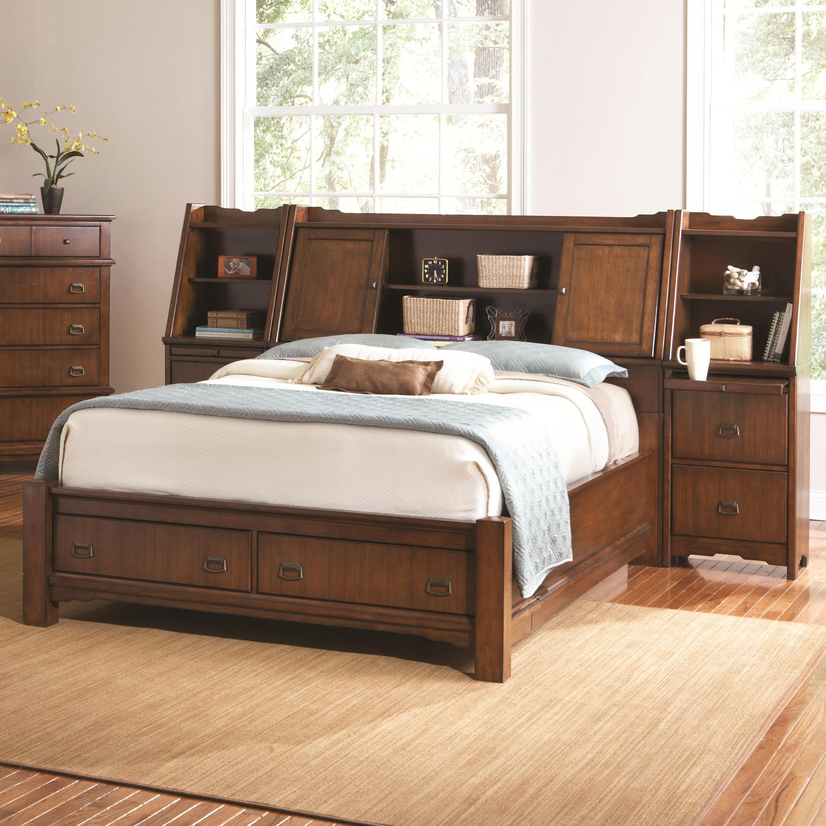 grendel eastern king bookcase bed with footboard storage and hutch headboard by coaster coaster