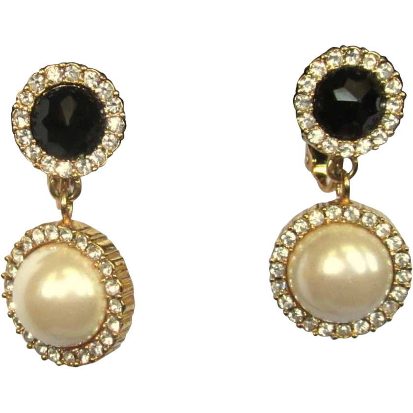 Vintage Rhinestone Earrings, Glass Pearl & Black Cabs
