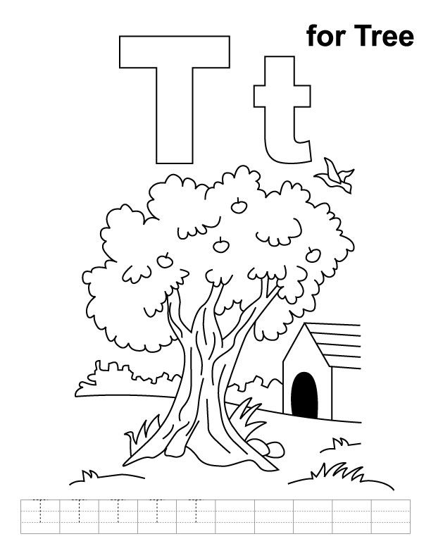 T For Tree Coloring Page With Handwriting Practice Tree Coloring