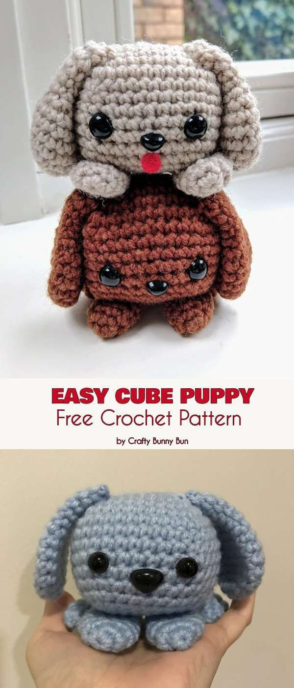 Easy Cube Puppy Dog Free Crochet Pattern #cutecrochet