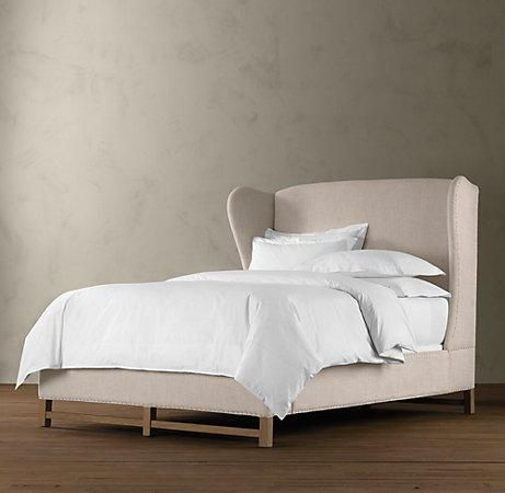 suzie: beds/headboards - french wing upholstered framed bed | beds